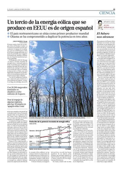 Un tercio de la energia eólica que se produce en EEUU es de origen español - EL MUNDO 11 Mayo 2009
