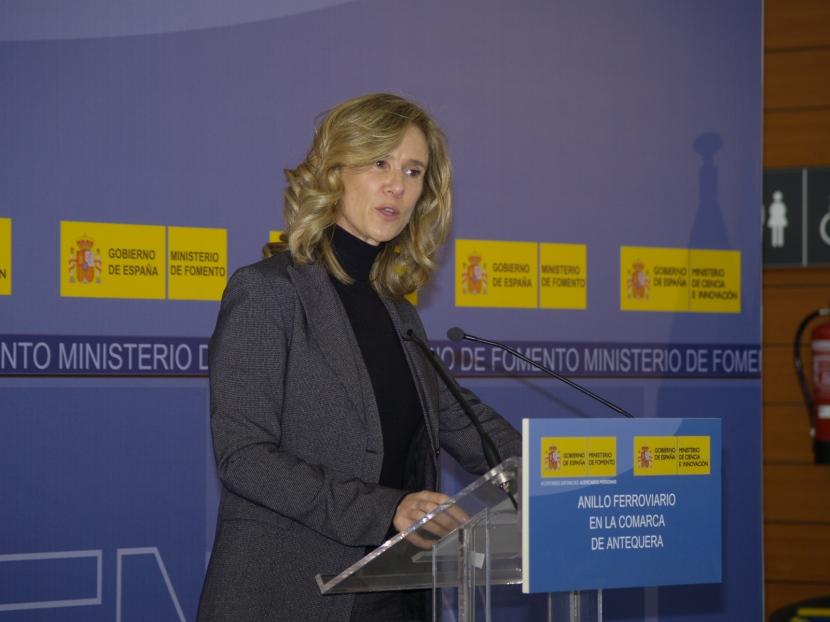 Cristina Garmendia durante la presentación en Antequera
