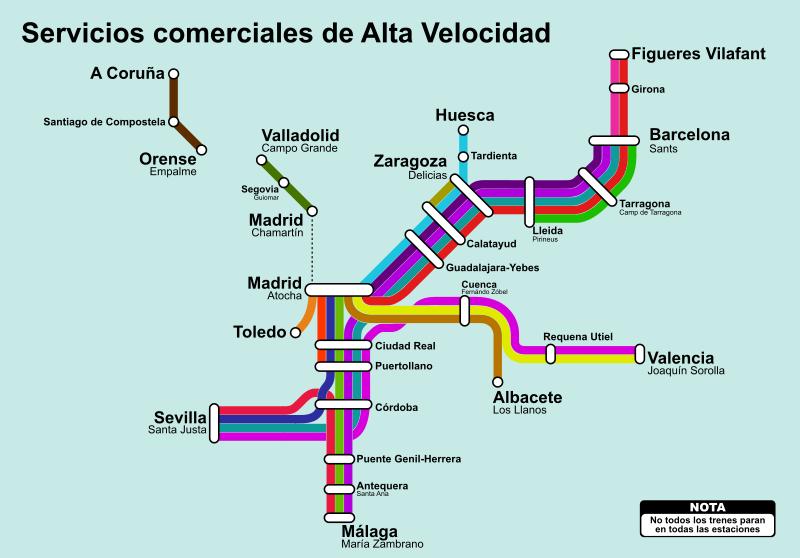 Red Ave España Mapa.Mapa Estilo Metro De La Alta Velocidad En Espana
