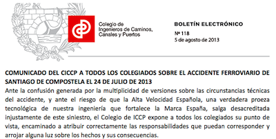 Comunicado del Colegio de ICCP sobre el accidente ferroviario de Santiago de Compostela